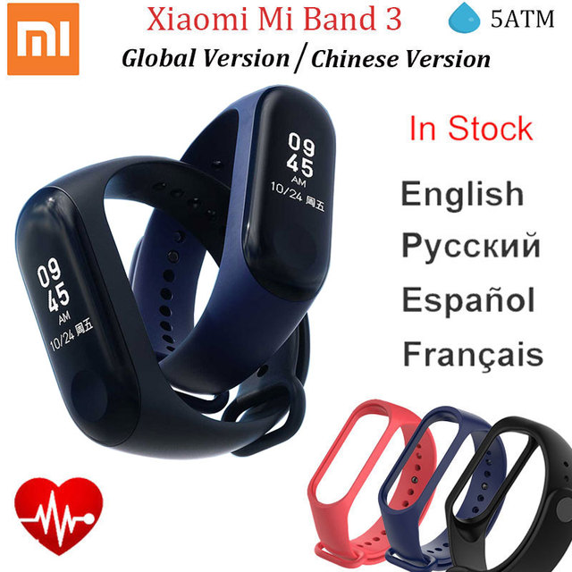 Xiaomi Mi Band 3 Miband3 Smart Wristband Fitness Tracker Bracelet Heart Rate Instant Message OLED Touch Screen Waterproof MiBand