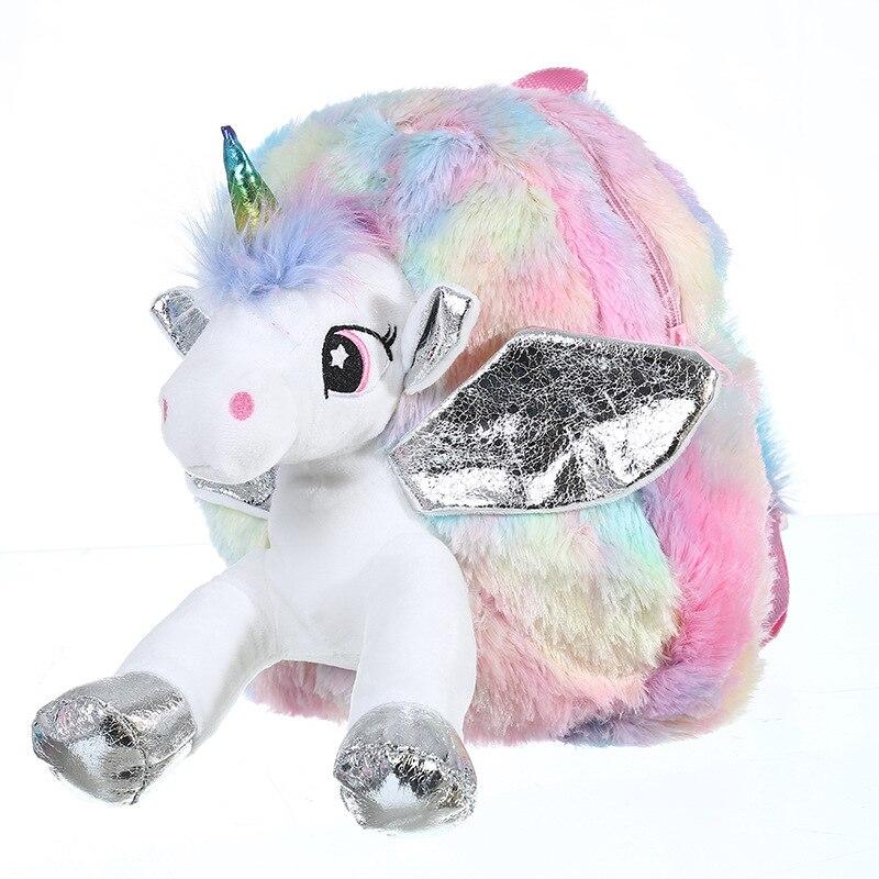 Baby Girl Unicorn Fur Backpack Cute Children Zipper Schoolbag Mini Kid Toy Doll Backpack For Kidergarten New Girl Plush Doll Bag 2