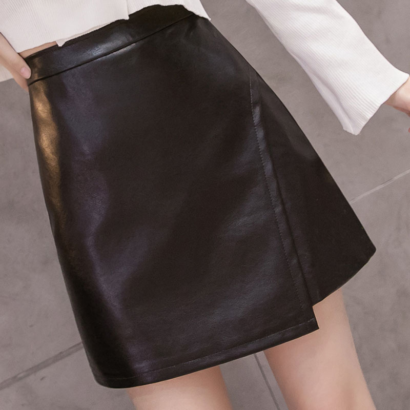 2019 Winter Women Pu Leather Skirts Trendy Office Ladies Black Faux Leather Short Skirt Imitation Leather Women's Slim Skirts