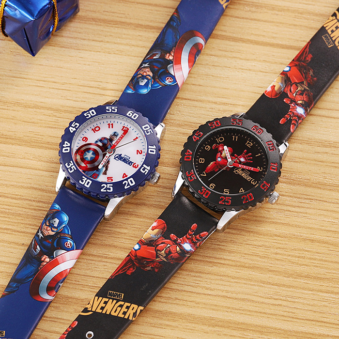 Image 5 - Marvel Мстители Капитан Америка Железный мужской детский синий красный PU ремешок Кварцевые водонепроницаемые часы Disney Пряжка аналоговые наручные часы для детейДетские часы   -