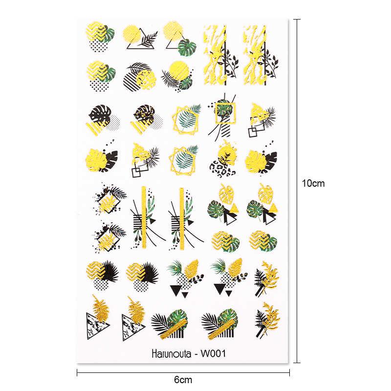 1แผ่นHarunoutaทองสติกเกอร์เล็บน้ำฤดูร้อนดอกไม้DecalsชุดSliderเล็บฟอยล์ห่อDIYตกแต่งเล็บ