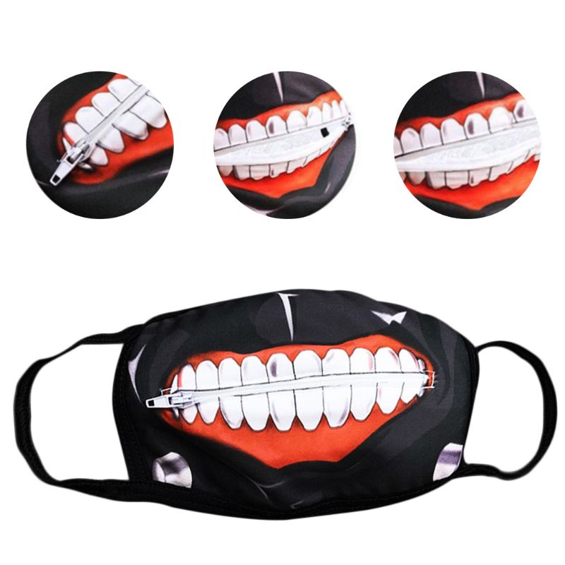 Unisex Anime Anti Dust Mouth Mask Cartoon Zipper Teeth Print Cosplay Respirator