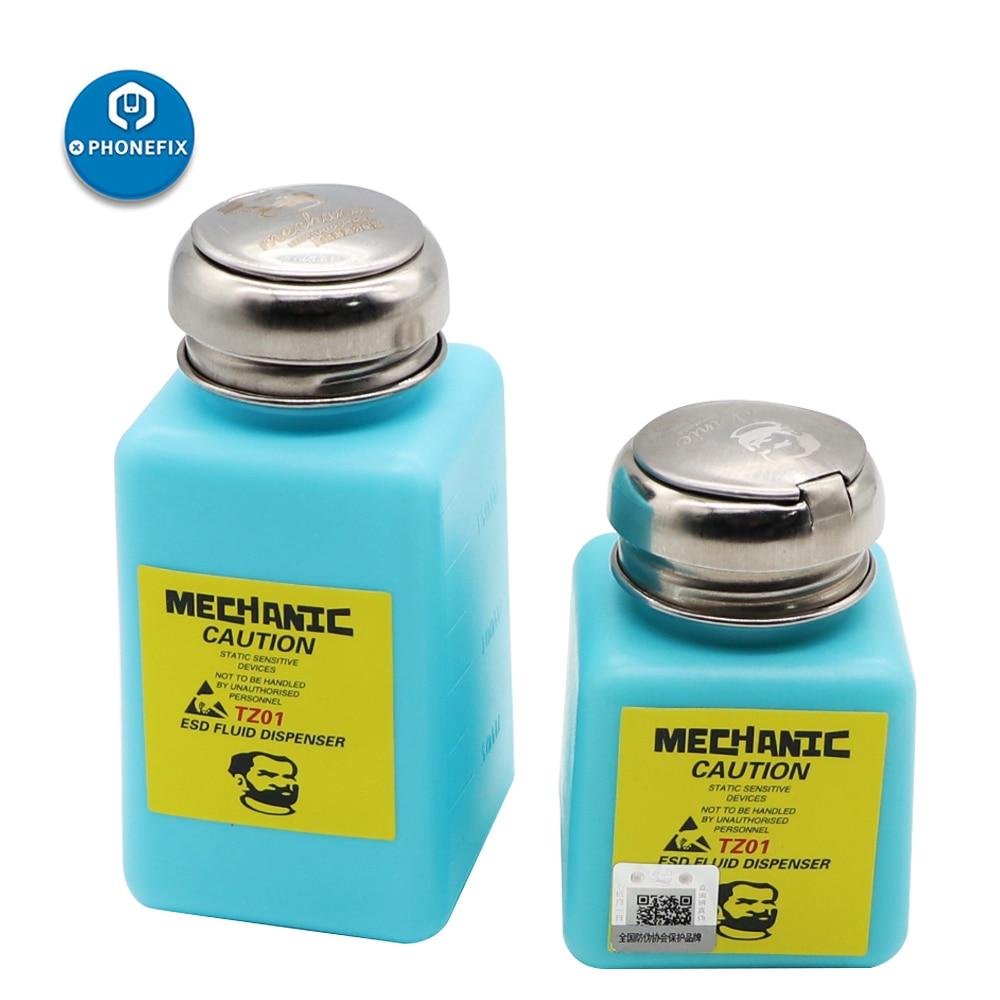 Mechanic ESD Fluid Dispenser Plastic Press Alcohol Bottle For Soldering Repair Tools 180ML Solvent Plastic Press Alcohol Bottle