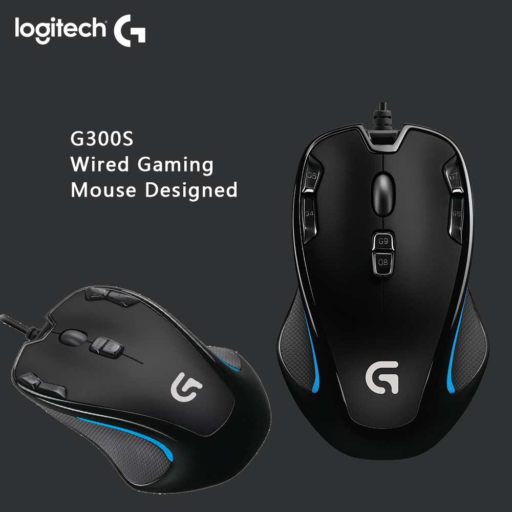 Logitech G300S Wired Gaming Mouse Designed Laptop PC Mouse Gamer for MMO Mouse 2500DPI 9 Rechargeable Programmable Buttons image