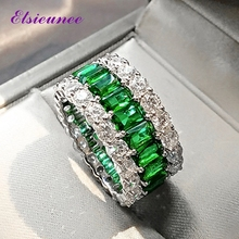 ELSIEUNEE 100% 925 Sterling Silver Created Moissanite Emerald Gemstone Ring for Women Anniversary Cocktail Party Fine Jewelry