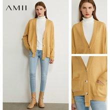 Amiiミニマリズム秋冬女性カーディガンファッション固体vネックゆるいニットの女性のオーバーコート女性トップス12040488