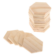 25 Pcs Unfinished Wood Pieces Wood Hexagon Cutting Tile, Natural(China)