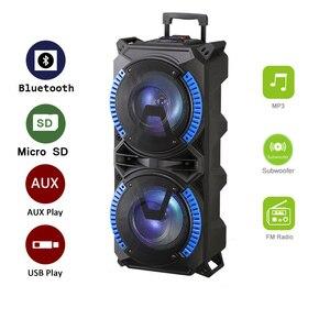 Беспроводная портативная акустическая система на колесиках, высокомощная Bluetooth-колонка, совместимая для помещения и улицы, звук DJ, стереозв...