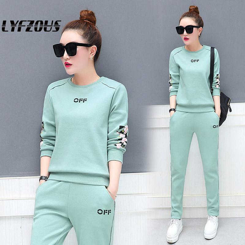 Autumn Sportsuit For Women 2 Two Piece Set Tracksuit Flower Print Sweatshirts And Pants 2pcs Sets For Woman Twinset