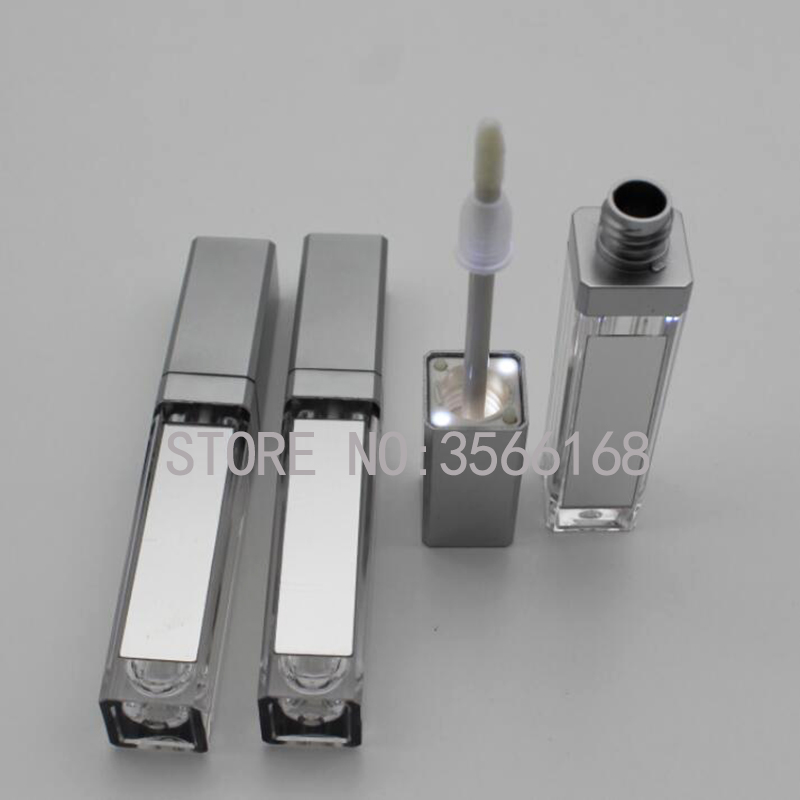 10/30/50pcs 7.5ml Empty Makeup DIY Lip Gloss Bottle Black/silver Square Lip Gloss Tube With LED Light Mirror Labial Glair Bottle