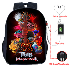 New Movie Trolls World Tour Poster Backpack Boy Girl Kids Cute Cartoon Schoolbag Male/female USB Double Layer Anime Travel Bag