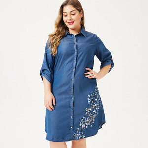 Image 3 - MK 2019 autumn Plus Size womens denim Shirt dress fashion Ladies femal elegant embroidery dresses woman party night