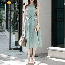 2019 Summer New Fresh Mint Green Cotton Linen Sleeveless Dress Irregular