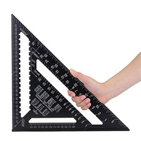 Black 12inches Triangle Angle Ruler Squares Triangular Measuring Ruler Woodwork Angle Protractor Trammel Gauge Measuring Tool|Calipers|   -