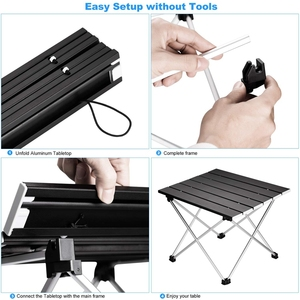 Image 5 - Portable Folding Camping Table Aluminum Desk Table Top Suitable for Outdoor Picnic Barbecue Cooking Holiday Beach Hiking Traveli