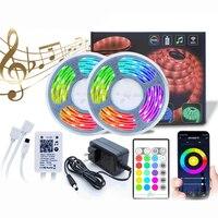 LED Strip Light Music Waterproof RGB 5050 SMD Flexible Ribbon fita led light strip RGB 5M 10M Tape Diode DC Remote Control