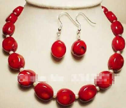 + + + 902 Ювелирные изделия Белый Akoya жемчуг и Красный коралл ожерелье серьги