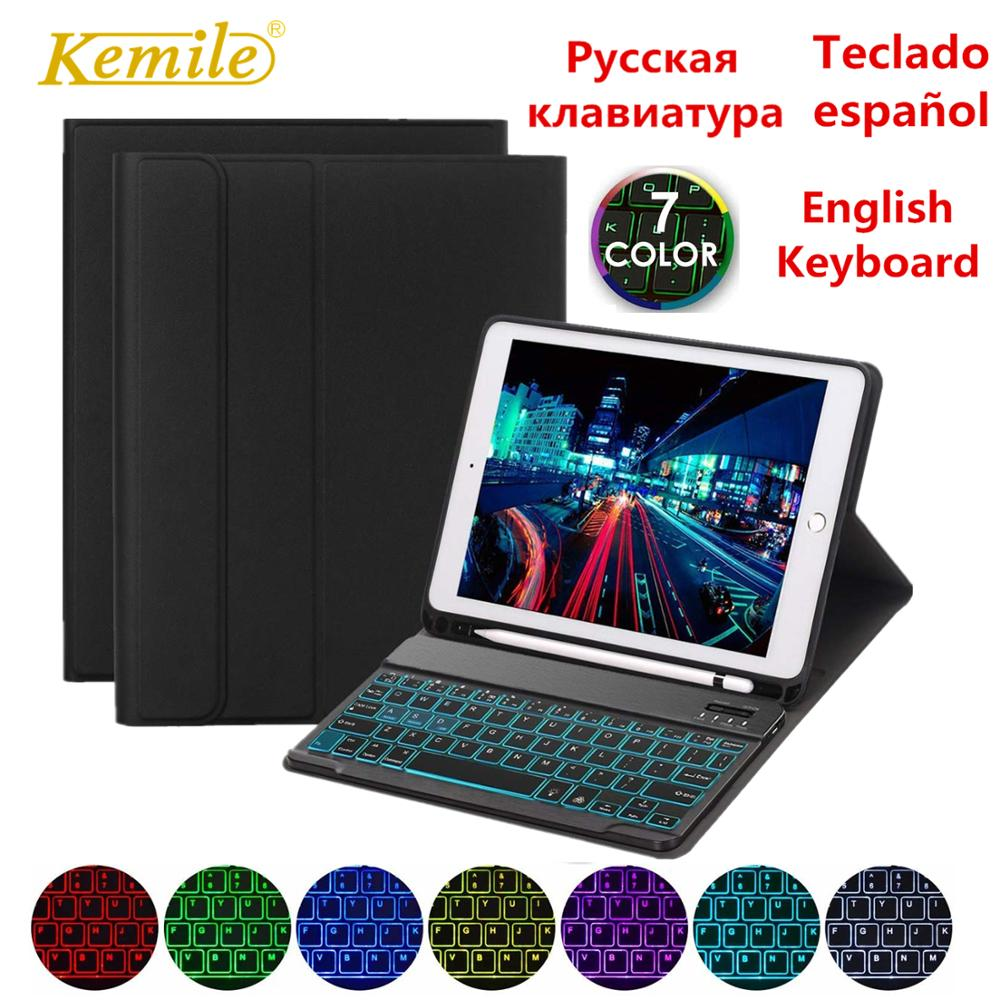 Case For <font><b>iPad</b></font> 6th <font><b>2018</b></font> <font><b>9</b></font>.<font><b>7</b></font> inch Removable backlit keyboard W Pencil Holder Stand Leather Cover For <font><b>iPad</b></font> 5th <font><b>2017</b></font> <font><b>9</b></font>.<font><b>7</b></font> Case Keypad image