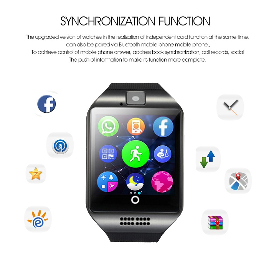 Sport watch smart camera, compatible with SIM card TF for IOS Android Function