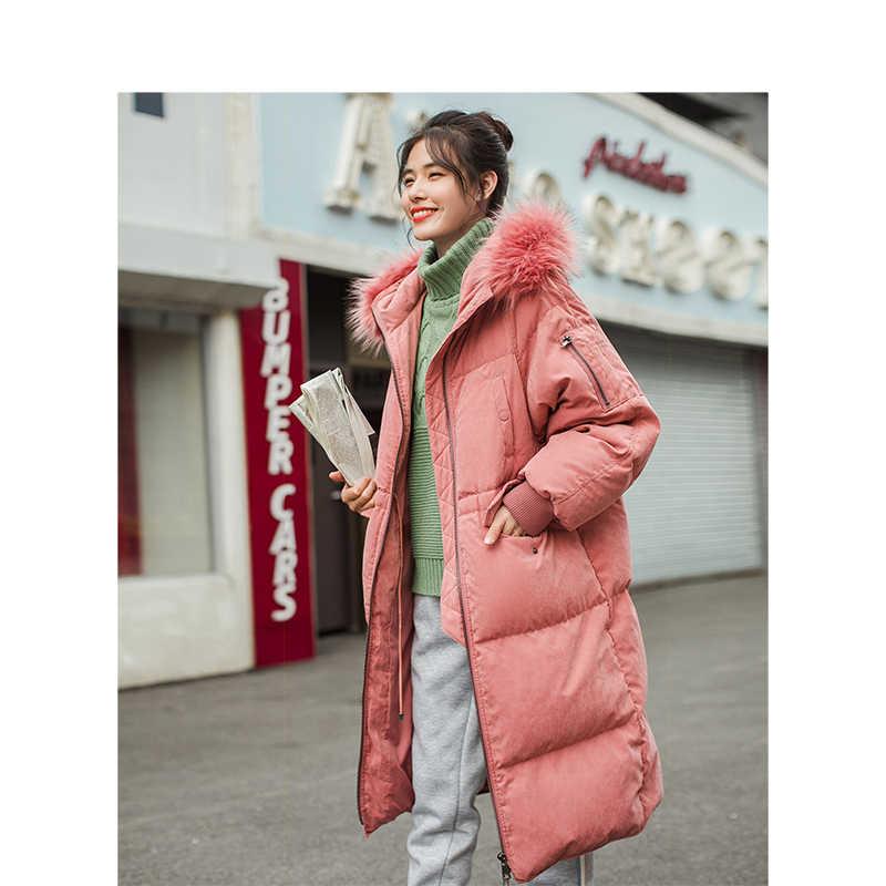 INMAN Зима Новое поступление меховой воротник с капюшоном свободный стиль Повседневная теплая Женская длинная пуховая куртка