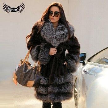цена Luxury Natural Mink Fur Coat For Women WInter Long Genuine Mink Fur Jacket With Sliver Fox Fur Collar And Bottom Fashion Outwear онлайн в 2017 году