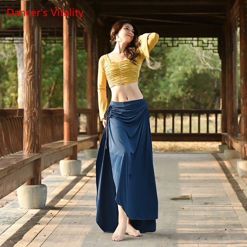 Women Belly Dance Set Top+Skirt 2pcs Dance Suit Oriental Dance Beginners Long Sleeve Exercise Clothes