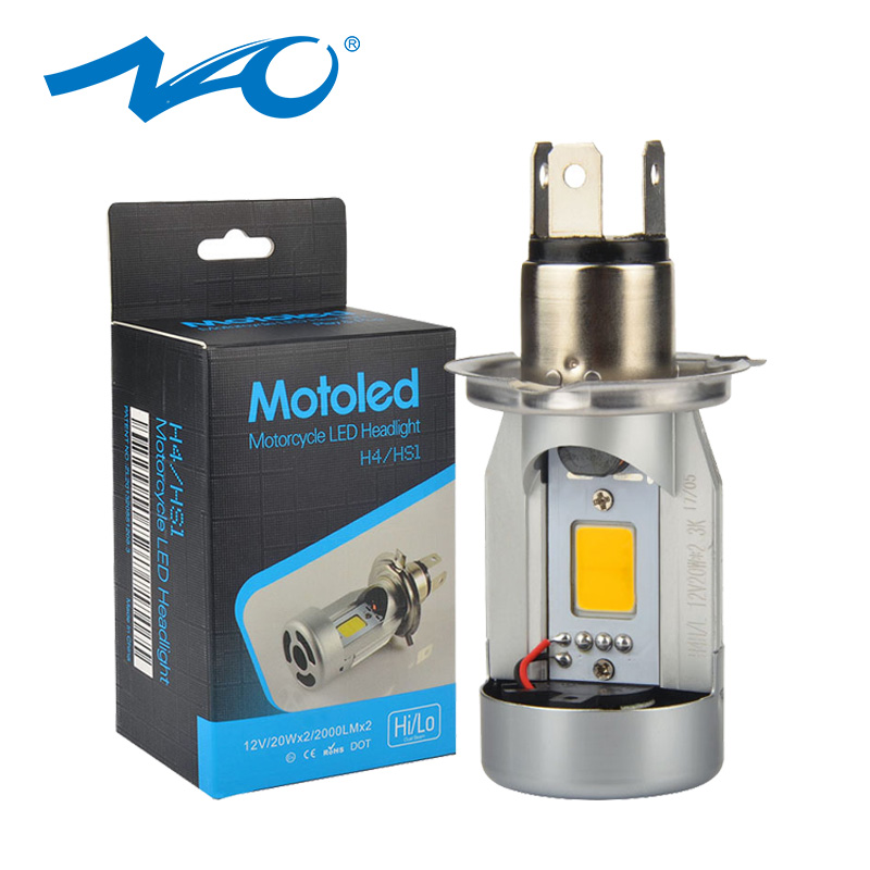 NAO h4 <font><b>led</b></font> motorcycle <font><b>Headlight</b></font> For gn125 <font><b>HS1</b></font> <font><b>led</b></font> Moto <font><b>led</b></font> motorbike bulbs light High Low 20W COB 12V 6500K 2500K Head Lamp M4 image
