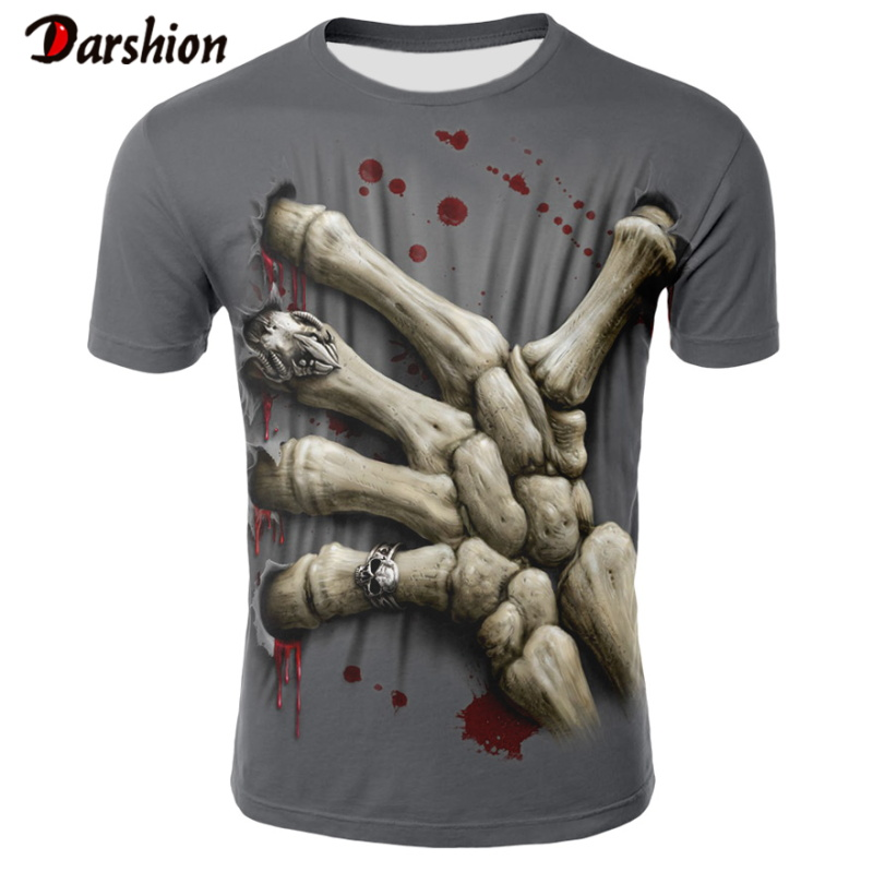 T Shirt Men Newest Skull Hand 3D Print Cool Funny T-Shirt Men Short Sleeve Summer Tops T Shirt T Shirt Male Fashion T-shirts Men
