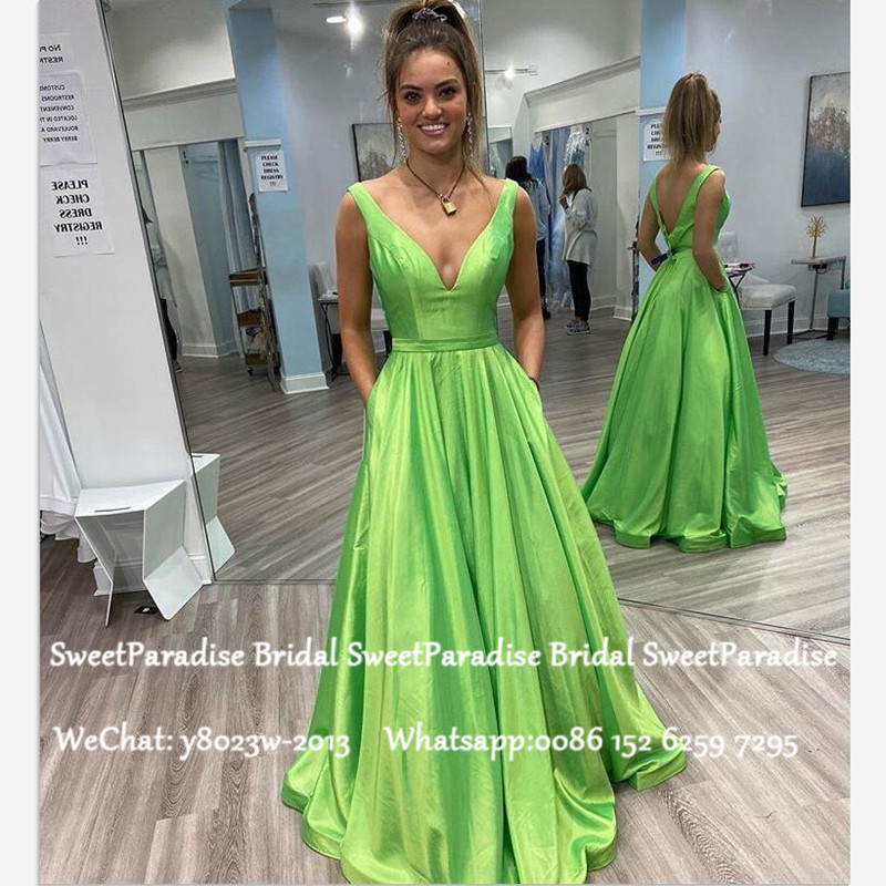 Bright Green Satin Evening Dress For Women 2020 Deep V Neck Backless A Line Formal Long Prom Dresses Robe De Soiree
