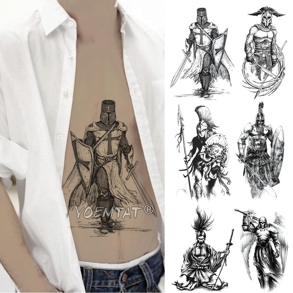 Crusader Knights Warrior Temporary Tattoo Sticker Waterproof Tatto Hero Gladiator Spartan Body Art Arm Fake Tatoo Men Women