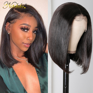 Image 1 - Nadula Hair 13x4/4x4 Lace Wig Straight Short Human Hair Lace Wigs For Women Pre Plucked With Baby Hair Short Bob Lace Front Wig