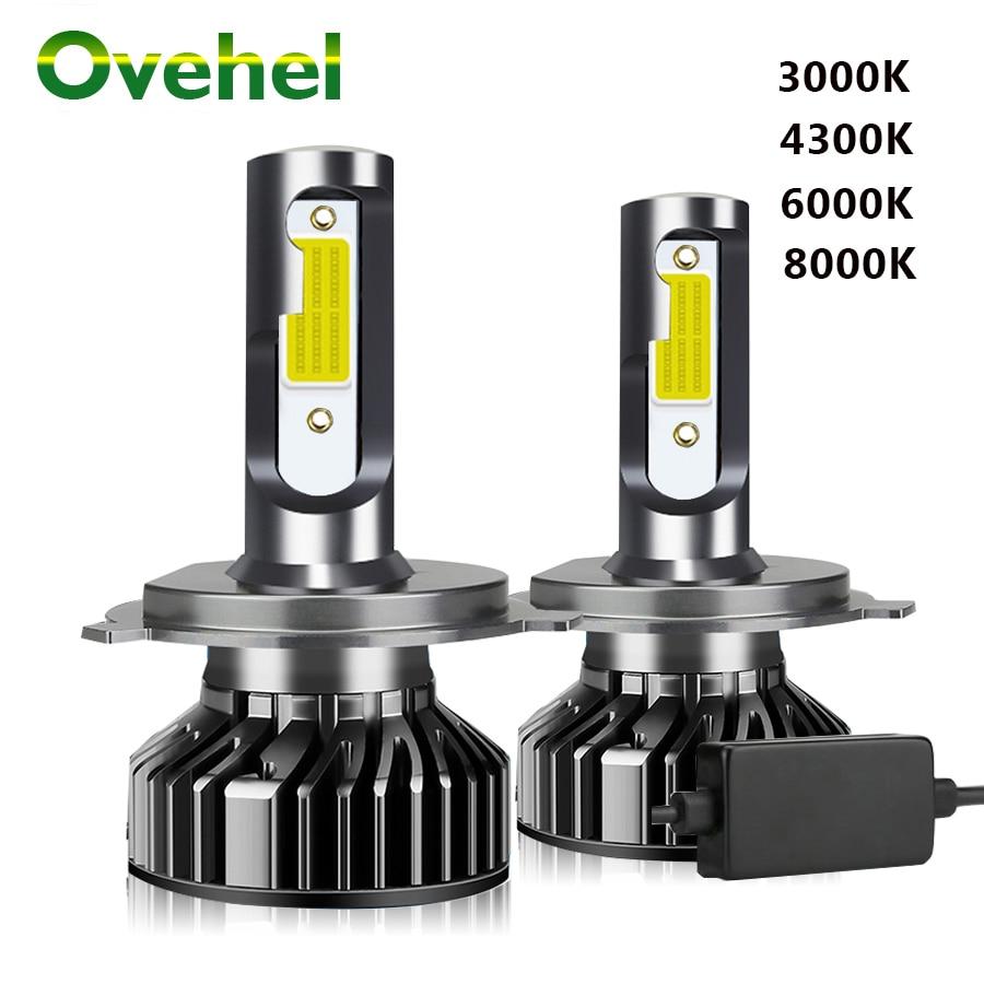 OVEHEL 2 шт. светодиодный 3000K 4300K 6000K 8000K 12000LM 12V 9005 HB3 H1 H4 светодиодный головной светильник H3 H7 светодиодный H11 9006 HB4 Canbus светодиодные лампочки Свето...