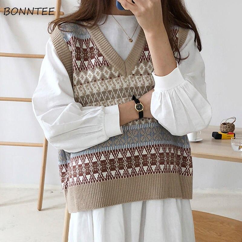 Жилеты, женские вязаные Лоскутные пуловеры с v образным вырезом, универсальные, женские студенческие, корейский стиль, Harajuku, винтажная мода|Жилеты и безрукавки|   | АлиЭкспресс