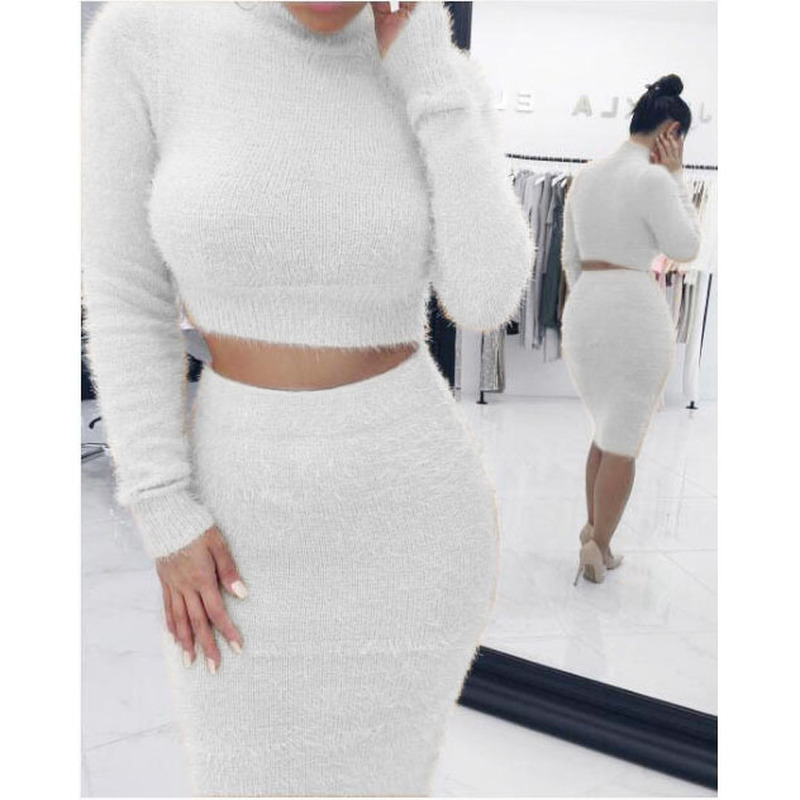 Winter Soft Warm Knitted O Neck 2 Pieces Set Casual Full Sleeve Sweater Skirt Female Sweater Suits Set Two Piece Set Women