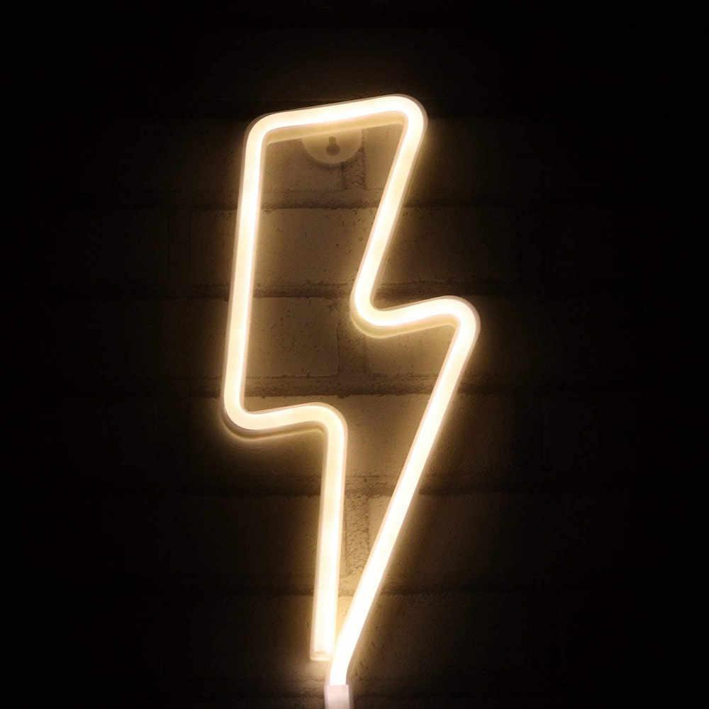 LED Neon burcu yıldırım şekilli USB pil kumandalı gece lambası dekoratif masa lambası ev partisi için oturma odası noel hediyesi
