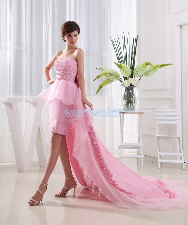 Free Shipping 2016 Taffeta Bow New Design Brides Maid Dresses Short Dress Long Train Vestidos Formales Sexy Pink Prom Dresses