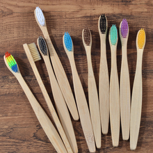 Bamboo Toothbrush Oral-Care Charcoal Wooden Eco-Friendly Soft-Bristle Adults Tip Mixed-Color