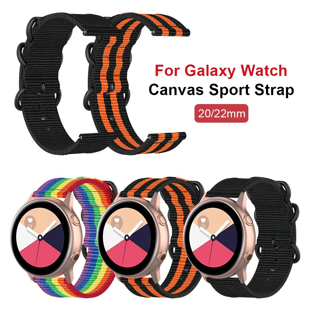 Watchband Canvas Smart Watch Strap Replacement Wristband For Samsung Galaxy Watch 46MM 42MM Active 2