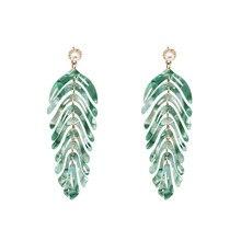 Women Bohemian Acrylic Dangle Resin Statement Earrings Green Party Jewelry Accessories Handmade Fashion