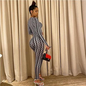 Sexy Print Jumpsuits Women Bodycon Autumn Long Sleeve O-Neck Pencil Jumpsuit Clothes One Piece Overall Bandage Party Bodysuit(China)