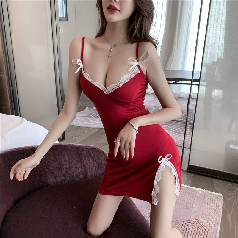 Новинка лета 2021, модная кружевная юбка с разрезом, сексуальная ночная рубашка, платье на бретельках с глубоким вырезом