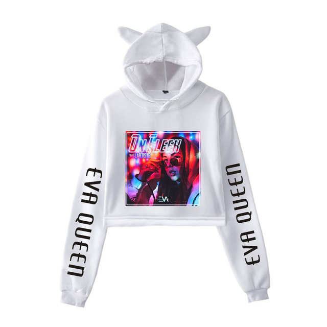 EVA QUEEN CROP TOP EAR HOODIE