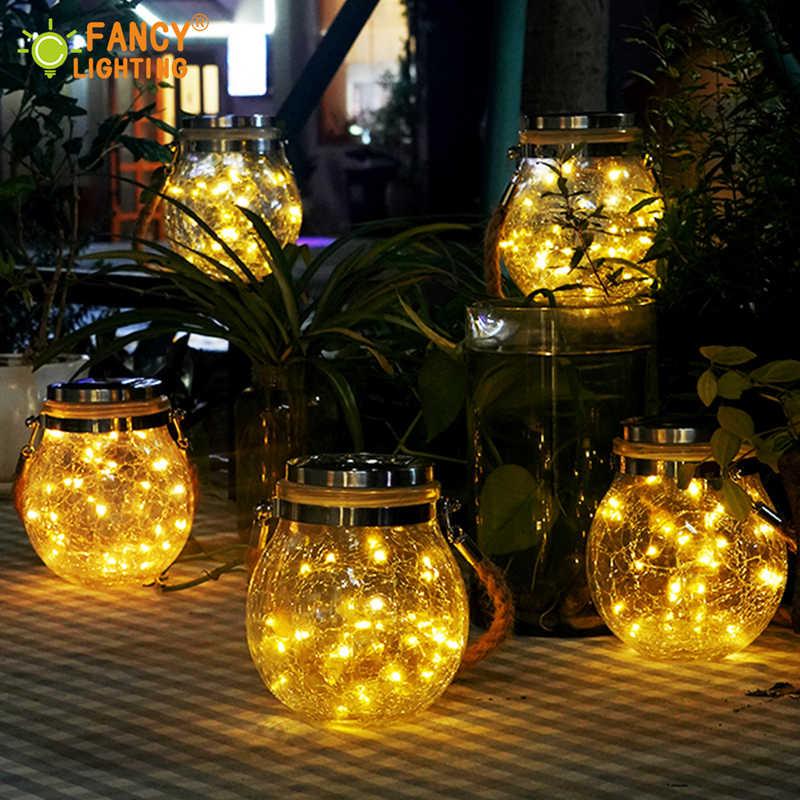 الطاقة الشمسية مصباح حديقة الزجاج الشمسية قلادة ضوء في الهواء الطلق دافئ أبيض/ملون قلادة مصباح لعيد الميلاد/ديكور في الهواء الطلق مصباح للطاقة الشمسية