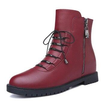 Shoes Woman MOOLECOLE Fashion Women Winter Boots Super High Heels Boots Short Plush Warm Women Shoes Internal Increase 2-6D595
