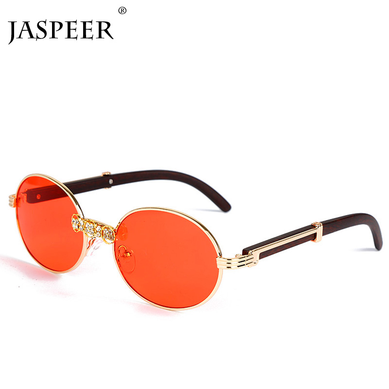 JASPEER Rhinestone Vintage Sunglasses Women Luxury Diamond Retro Men Brand Designer Round Eyewear