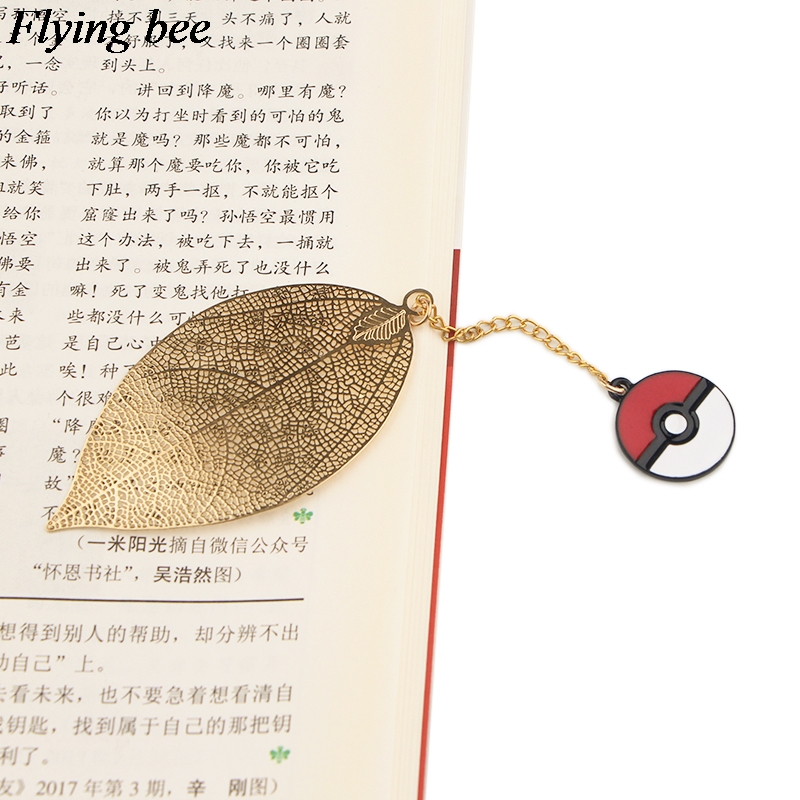 20pcs/lot Flyingbee Leave Pendant Cartoon Metal Bookmarks Cool Book Markers Page Holder For Books Stationery Gifts X0783