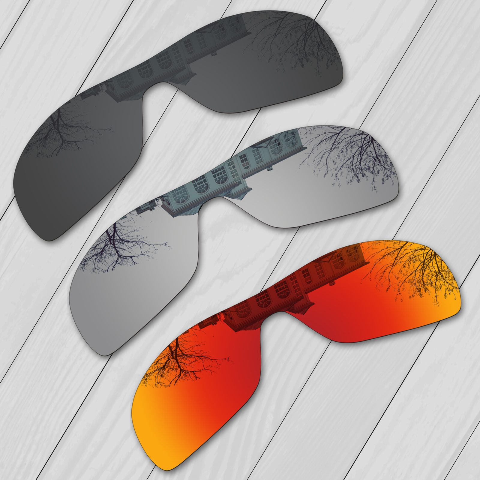 E.O.S 3 Pieces Black & Silver & Fire Red Polarized Replacement Lenses for Oakley Turbine Rotor OO9307 Sunglasses