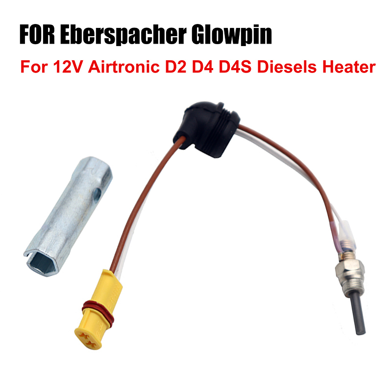 12V For Eberspacher Glowpin Glow Pin Plug 1000-8000KVA For Airtronic D2 D4 D4S Diesels Heater W/ Wrench