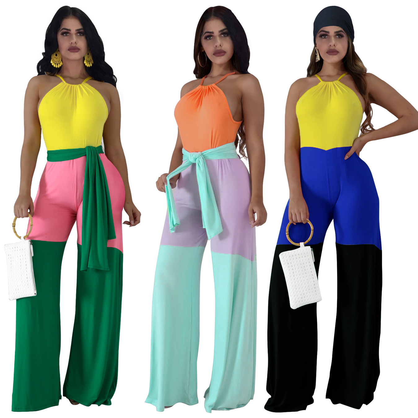 Fashion Casual Halter Three-color Stitching Jumpsuit Patchwork Loose Long Pants Yellow Green Orange S-XXL New Arrival