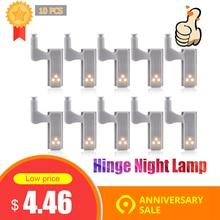 10 adet evrensel LED dolap altı ışığı dolap iç menteşe lambası dolap dolap sensörlü ışık ev mutfak gece lambası